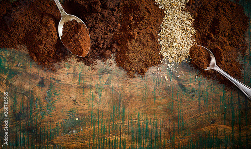 Photo  Border of assorted exotic fresh ground coffee