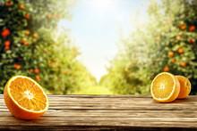 Fresh Orange Fruits On Desk An...
