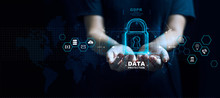 Data Protection Privacy Concept. GDPR. EU. Cyber Security Network. Business Man Protecting Data Personal Information On Tablet. Padlock Icon And Internet Technology Networking Connection.