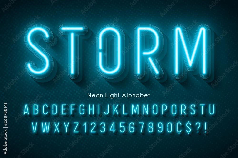Fototapeta Neon light alphabet, multicolored extra glowing font.