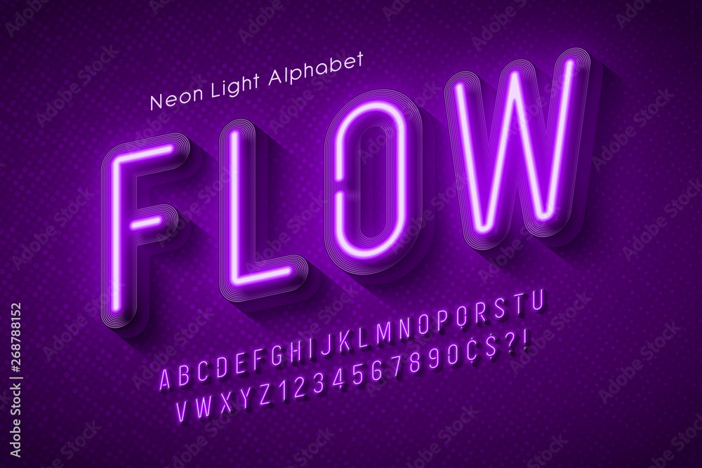 Fototapety, obrazy: Neon light alphabet, multicolored extra glowing font.
