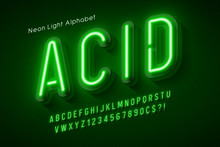 Neon Light Alphabet, Multicolo...