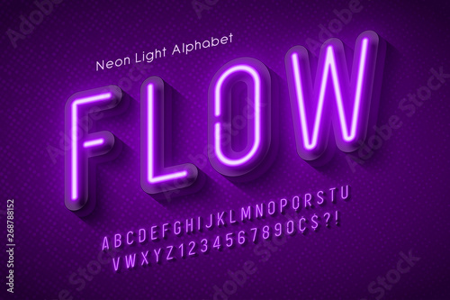 Fotografía  Neon light alphabet, multicolored extra glowing font.