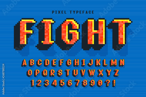 Photo  Pixel vector font design, stylized like in 8-bit games.