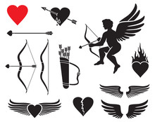 Set Of Cupid Icons - Valentines Day Design (arrow, Bow, Wings, Flaming Heart, Leather Quiver)