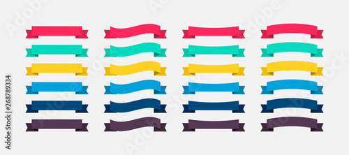 Obraz Ribbons Banners colorful in flat design. Ribbon Banners vector icons. Vector Ribbons Banners - fototapety do salonu
