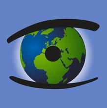 Concept écologique Pour être Vigilant Et Protéger La Planète Terre Du Réchauffement Climatique Avec Un œil Dont La Pupille Est Un Globe Terrestre Montrant L'Europe, L'Asie Et L'Afrique.