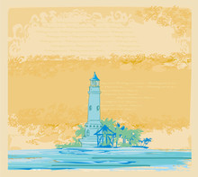 Lighthouse Seen From A Tiny Beach - Vintage Frame