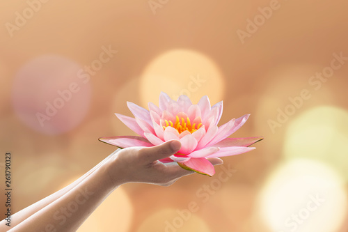 Vesak day, Buddhist lent day, Buddha's birthday worshiping concept with woman's Fototapet