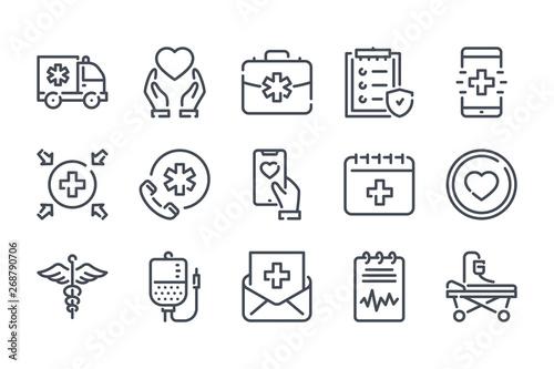Fotografie, Obraz  Healthcare related line icon set