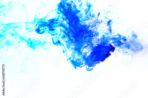 Colorful steam exhaled from the vape with a smooth transition of color molecules from turquoise to blue on a white background like a collision of two jets of smoke. Malicious virus and drug injection.