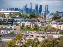 Elevated View Of Melbourne's Suburban Houses Near Maribyrnong River.