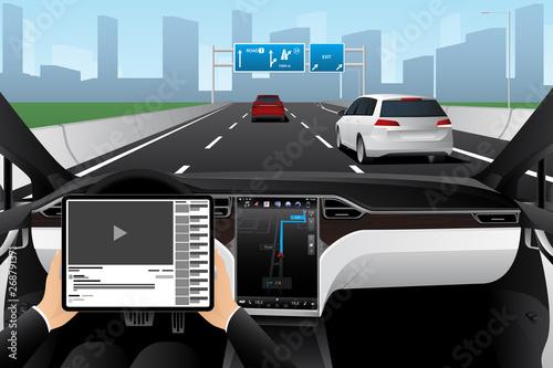 A man uses digital tablet while his car is driven by an autopilot. Self driving autonomous vehicle concept