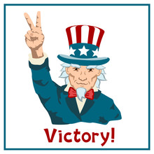 Uncle Sam Shows Hand Victory Sign Isolated On White Background