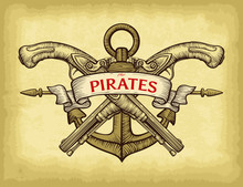 Pirates Emblem Concept. Abstract Hand Drawn Anchor, Sabre, Ship Wheel, Pistol And Ribbon Banner. Old Craft Paper Texture Background. Template For Your Design Works. Vector Illustration.