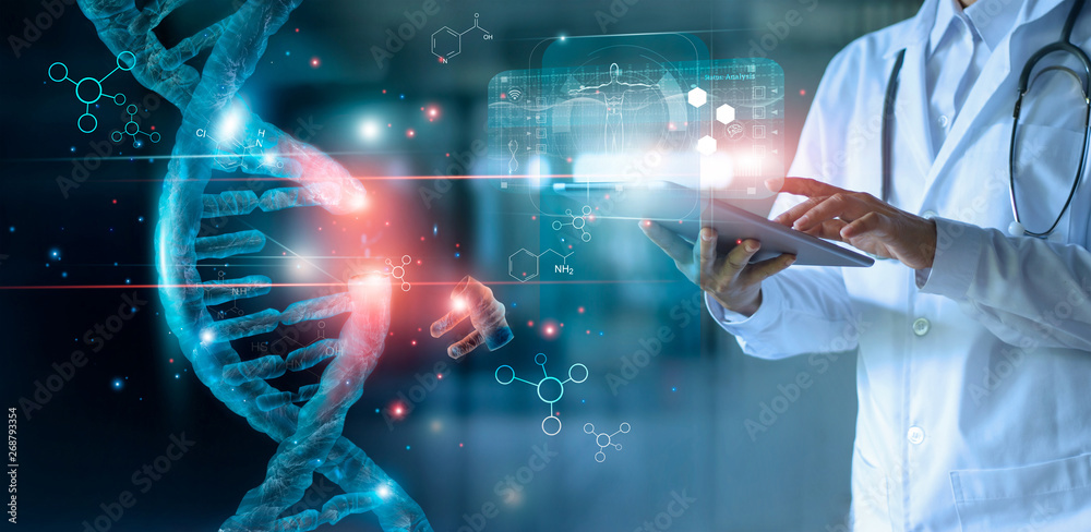 Fototapeta Abstract luminous DNA molecule. Doctor using tablet and check with analysis chromosome DNA genetic of human on virtual interface. Medicine. Medical science and biotechnology.