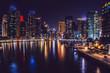 Dubai Marina district at night. Dubai at May 2019