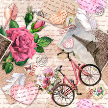 Hand Written Letters, Hearts, Bicycle With Flowers In Basket, Vintage Photo Of Eiffel Tower, Rose Flowers, Postal Stamps, Feathers. Seamless Pattern About Love, France, Paris