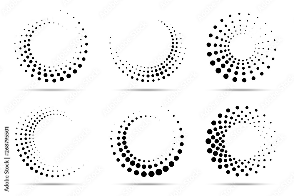 Fototapety, obrazy: Halftone circular dotted frames set. Circle dots isolated on the white background. Logo design element for medical, treatment, cosmetic. Round border using halftone circle dots texture. Vector
