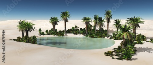 Foto Oasis in the desert of sand, palm trees and a pond in the sands,