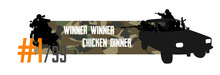 Pubg Concept. Squad Rides By Car Dacia And Shoots. Playerunknown's Battlegrounds. Battle Royale Game Pubg, Fortnite. Slogan - Winner Winner Chicken Dinner. Vector Web Cap