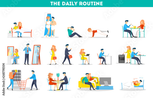 Daily routine of a woman and man set Canvas Print