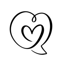 Heart Love Icon And Bubble Spe...