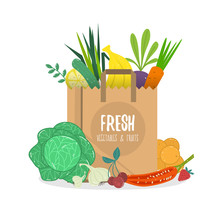 Vector Cartoon Style Illustration Of Paper Bag Full Of Natural Organic Vegetables And Fruits.