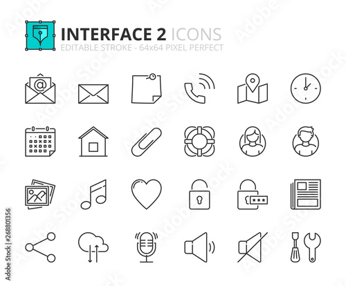 Cuadros en Lienzo Outline icons about interface 2