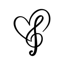 Music Key And Heart Abstract Hand Drawn Vector Logo And Icon. Musical Theme Flat Design Template. Isolated On The White Background
