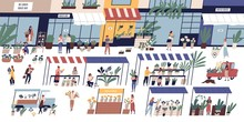 Outdoor Flower Market With Happy Tiny People Or Customers Walking Among Stalls, Florists Selling Bouquets And Potted Plants, Floristic Shops Or Stores. Flat Cartoon Colorful Vector Illustration.