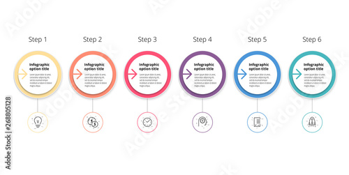 Photo  Business process chart infographics with 6 step circles