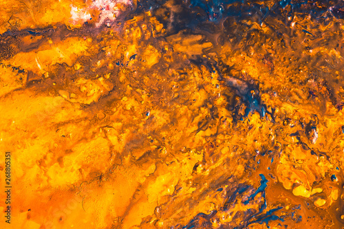 Abstract Blue Orange Color Background Dry Acrylic Paint Art