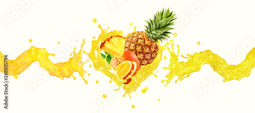 Orange, pineapple fruit juice or smoothie liquid splash mix. Healthy fruits juice or smoothie splash label ad banner design with orange, pineapple fruits mix and juice splash wave. 3D