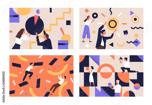 Obraz Collection of people organizing abstract geometric shapes scattered around them. Bundle of young men and women collecting figures. Concept of teamwork. Flat vector illustration in contemporary style. - fototapety do salonu