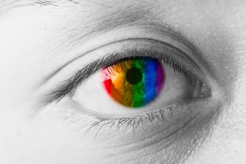 Colors Eyes Vision concept, LGBT rainbow colorful pupil closeup macro