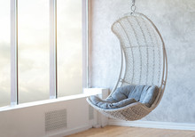 Relax Concept With Hammock Chair In Room. Leisure Scene With Hammock Chair With Window. Cozy Place Relax In The Room