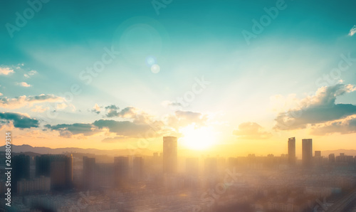 Printed kitchen splashbacks New York City day concept: big city at sunset background