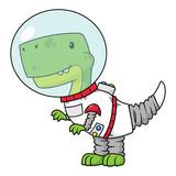 Fototapeta Dinusie - Vector Cartoon Tyrannosaurus Rex Dinosaur Astronaut Illustration