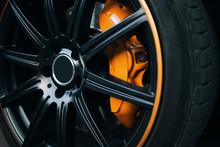 Car Braking System. Sport Car Front Wheel Brake