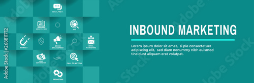 Digital Inbound Marketing Web Banner with Vector Icons with CTA, Growth, SEO, et Canvas Print