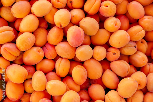 Carta da parati Fresh apricots on the marke closeup backround.