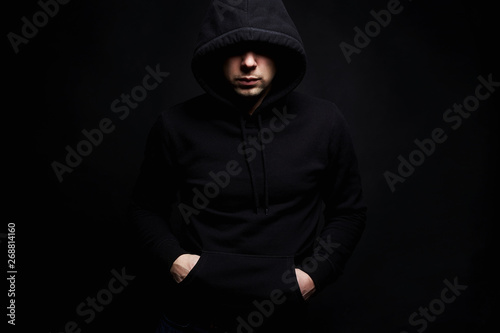 Photographie Man in Hood. Boy in a hooded sweatshirt