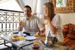 Couple having breakfast in a Riad hotel in Marrakech