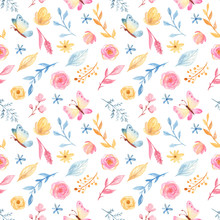 Watercolor Seamless Pattern With Cute Cartoon Romantic Unicorn And Flowers. Texture For Wedding Design, Wallpaper, Scrapbooking, Prints, Apparel, Fabrics, Textiles.