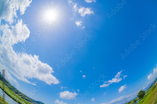 Fotografie, Obraz  初夏の青空 魚眼レンズ 広角