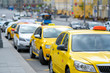 Moscow, Russia - May, 6, 2019: taxi in a center of Moscow, Russia