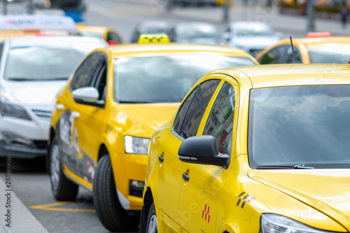 Staande foto New York TAXI Moscow, Russia - May, 6, 2019: taxi in a center of Moscow, Russia