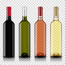 Wine Bottles Set, Isolated On Transparent Background.