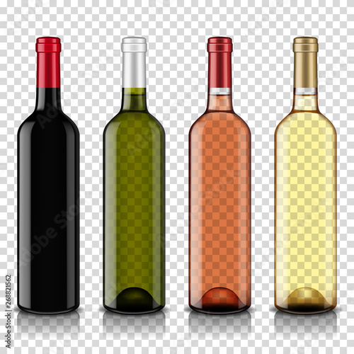 Fototapeta Wine bottles set, isolated on transparent background. obraz